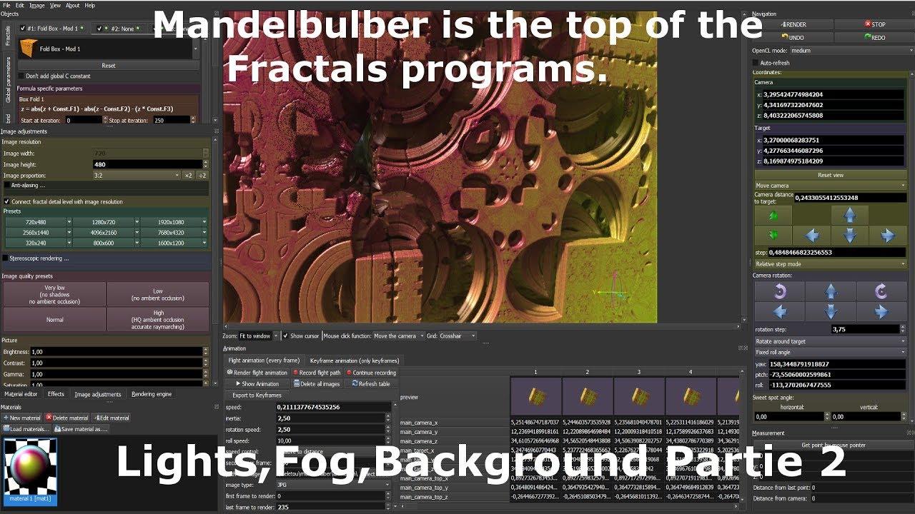 Mandelbulber Lights, Volumetric,Fog, Background , Partie 2