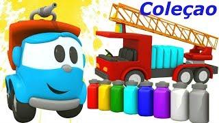 Coleção. Léo o caminhão.  As cores para crianças com ca...