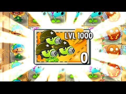 Plants Vs Zombies 2 PC Mod - Gatling Pea LEVEL 1000 Vs Zombies Fight!