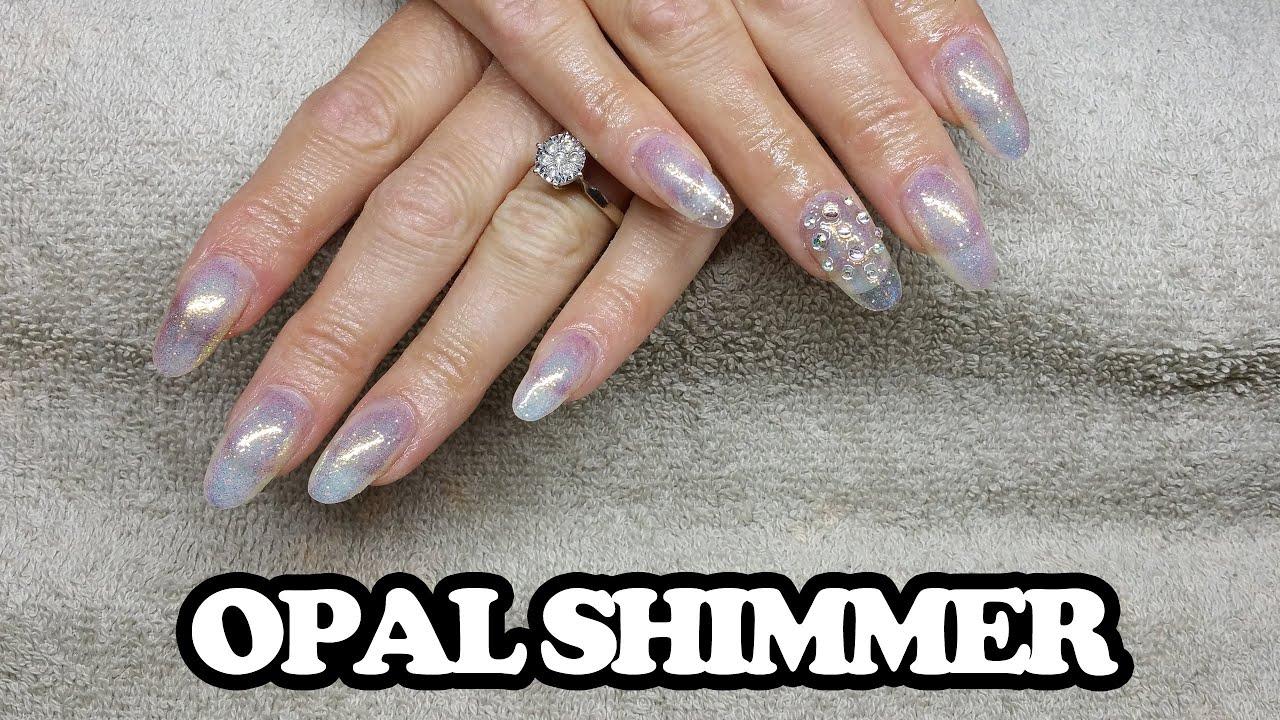opal shimmer nail design | Acrylic nail infill & gel design - YouTube