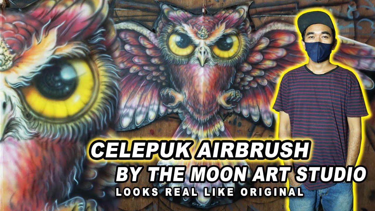 LAYANGAN CELEPUK AIRBRUSH - By The Moon Art Studio // Lukisan Terlihat Nyata