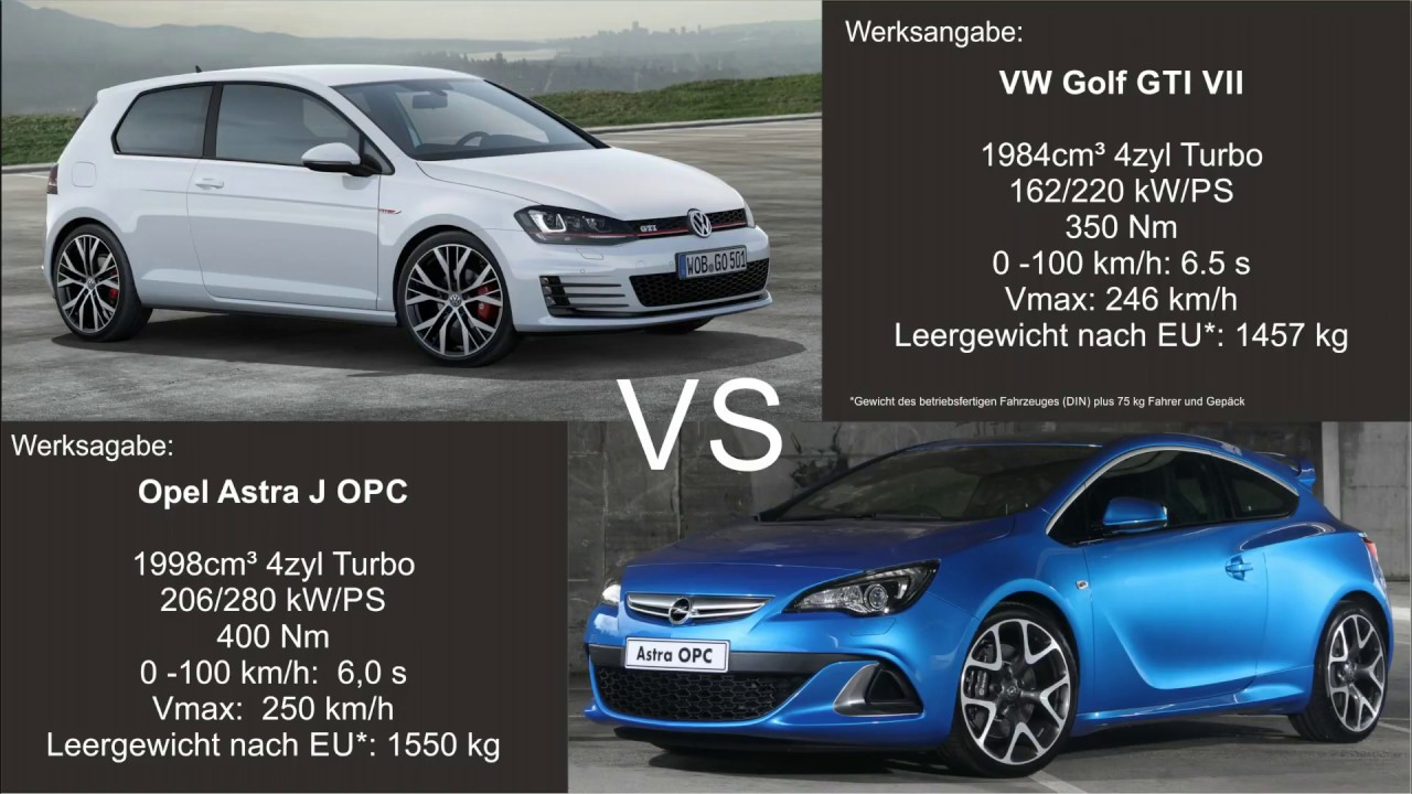 0 100 vw golf gti vii vs opel astra j opc youtube. Black Bedroom Furniture Sets. Home Design Ideas