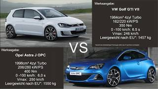 0-100 VW Golf GTI VII VS Opel Astra J Opc || Car Performance Battle