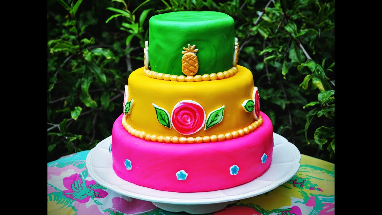 Lilly Pulitzer Tiered Fondant Birthday Cake for beginners by