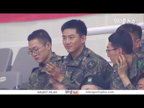 [옥택연 cut] Soldier Ok Taecyeon watching a Basketball game   Goyang  오리온 vs KCC 180111