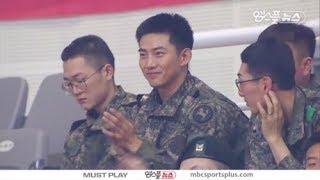 [옥택연 cut] Soldier Ok Taecyeon watching a Basketball game | Goyang  오리온 vs KCC 180111