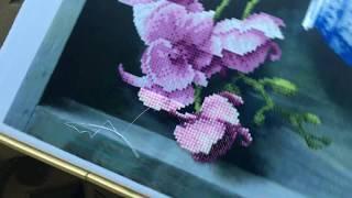 Вышивка бисером.  Спонтанный процесс !!! Орхидея в вазе!