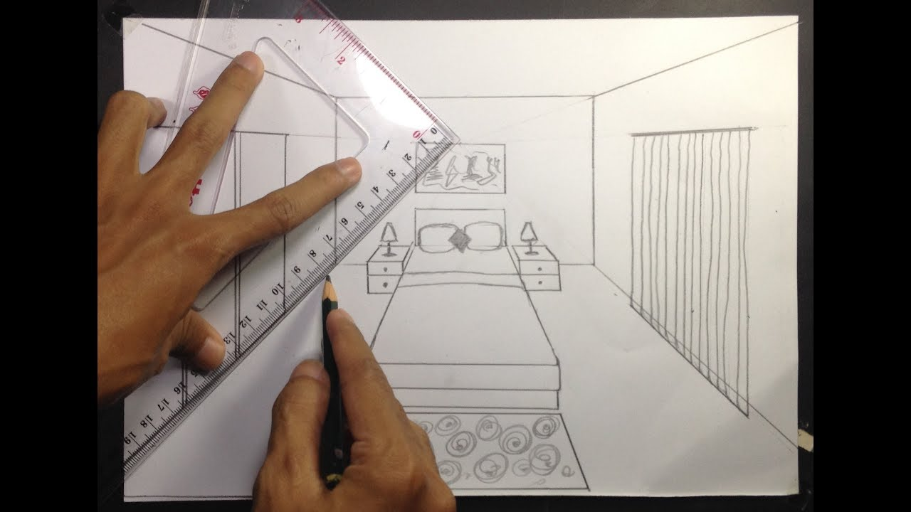 simple bedroom drawing. How To Draw A Simple Bedroom In One Point Perspective Drawing