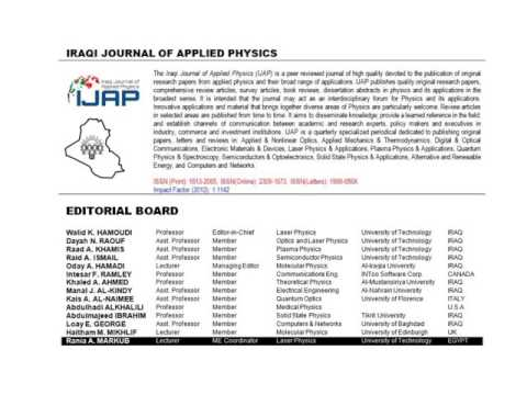 Iraqi Journal Of Applied Physics