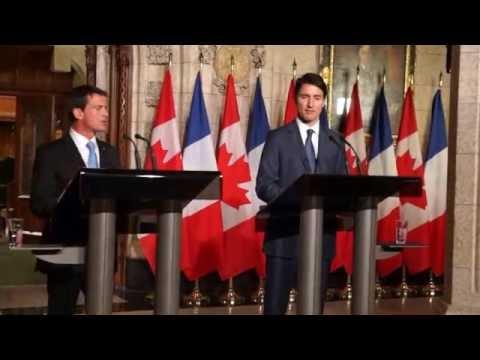 Réveil-FM: Manuel Valls-Justin Trudeau, conférence de presse commune à Parliament Hill à Ottawa