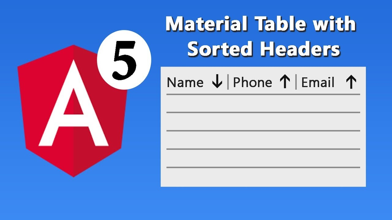 Angular 5 Material Table with Sortable Headers