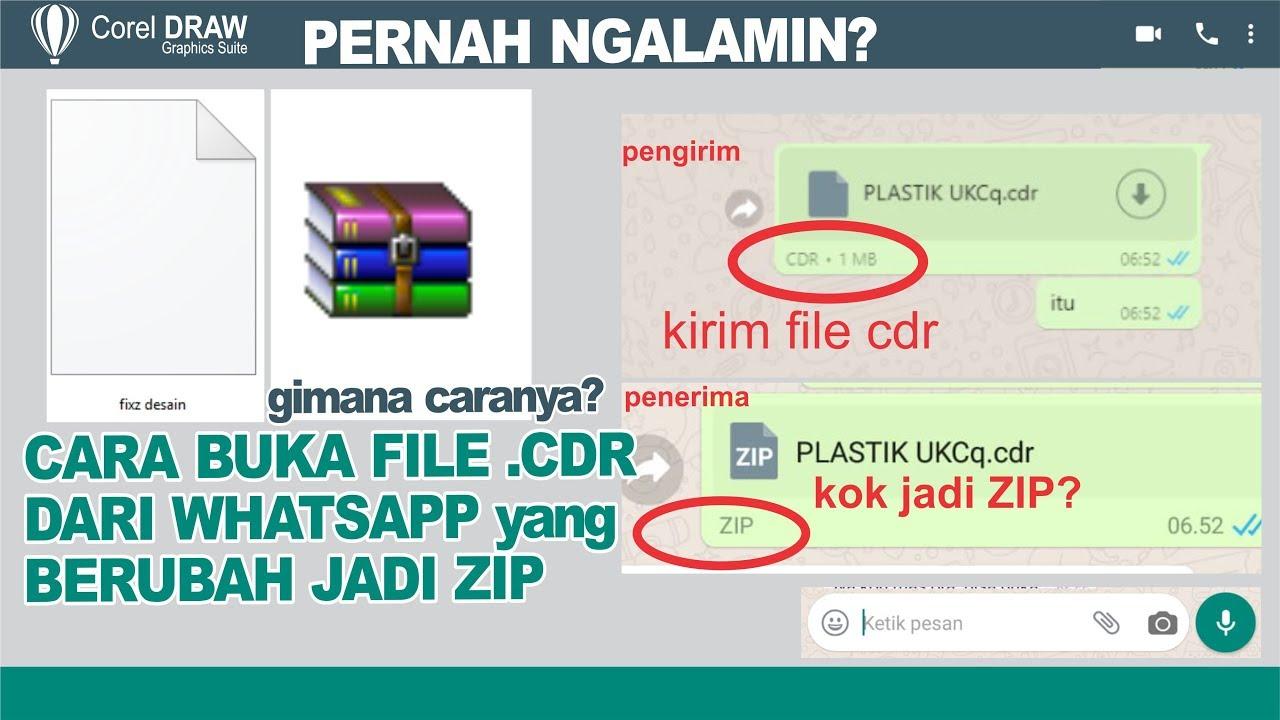 Cara Membuka File Cdr Yang Berubah Zip Lewat Whatsapp Youtube