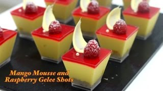 Mango Mousse with Raspberry Gelee Shots