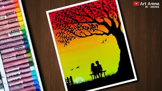 Couple Sunset scenery drawing with Oil Pastels - step by step