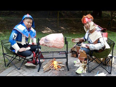 【15秒】モンハンの肉焼きセットで本当にあの大きさの肉焼けるの?
