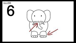 6 Langkah Cara Menggambar Hewan -  Gajah