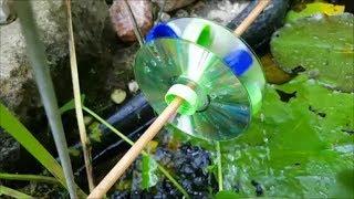 Wasserrad bauen aus Flaschendeckeln und CDs