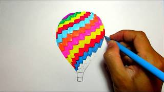 Drawing Ideas of Hot Air Balloon | Easy Drawings for Kids with Rainbow Colors