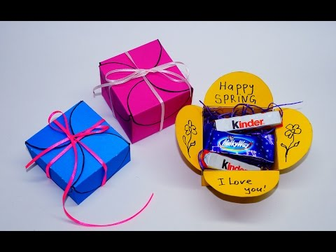 DIY paper crafts idea - gift box making. How to make gift box easy. Gift box tutorial / Julia DIY