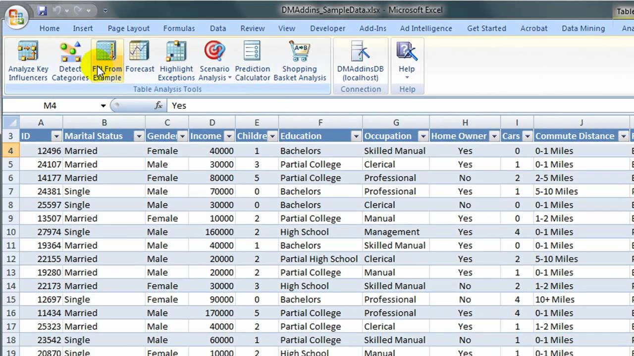 Microsoft Data Mining Demo -- Fill from Example - YouTube