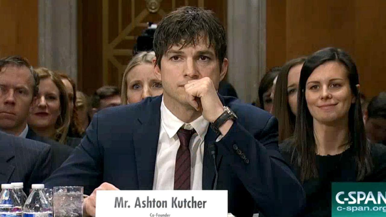 Ashton Kutcher emotionally speaks out against sex-trafficking in Senate hearing