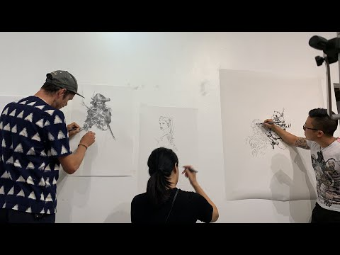 Superani(Karl Kopinski, Jisu, Peter Han) Live Drawing at GR2 Art Gallery in L.A, US