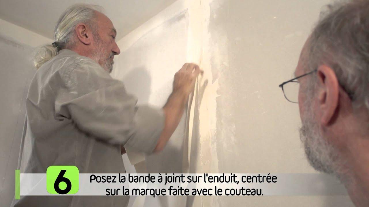 Réparer Un Plafond En Platre avec refaire une bande de plâtre mal posée - youtube