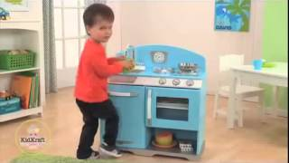 Children's Boys Blue Wooden Pretend Toy Play Kitchen For Boys By Kidkraft