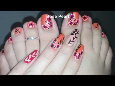 DIY Summer and Fall Flower Pedicure- Toe Nail Art Tutorial | Rose Pearl thumbnail