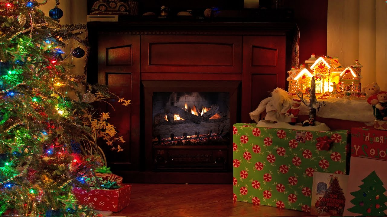 4K FIREPLACE Cozy Christmas Scene 2 HOUR Nature Relaxation Video ...