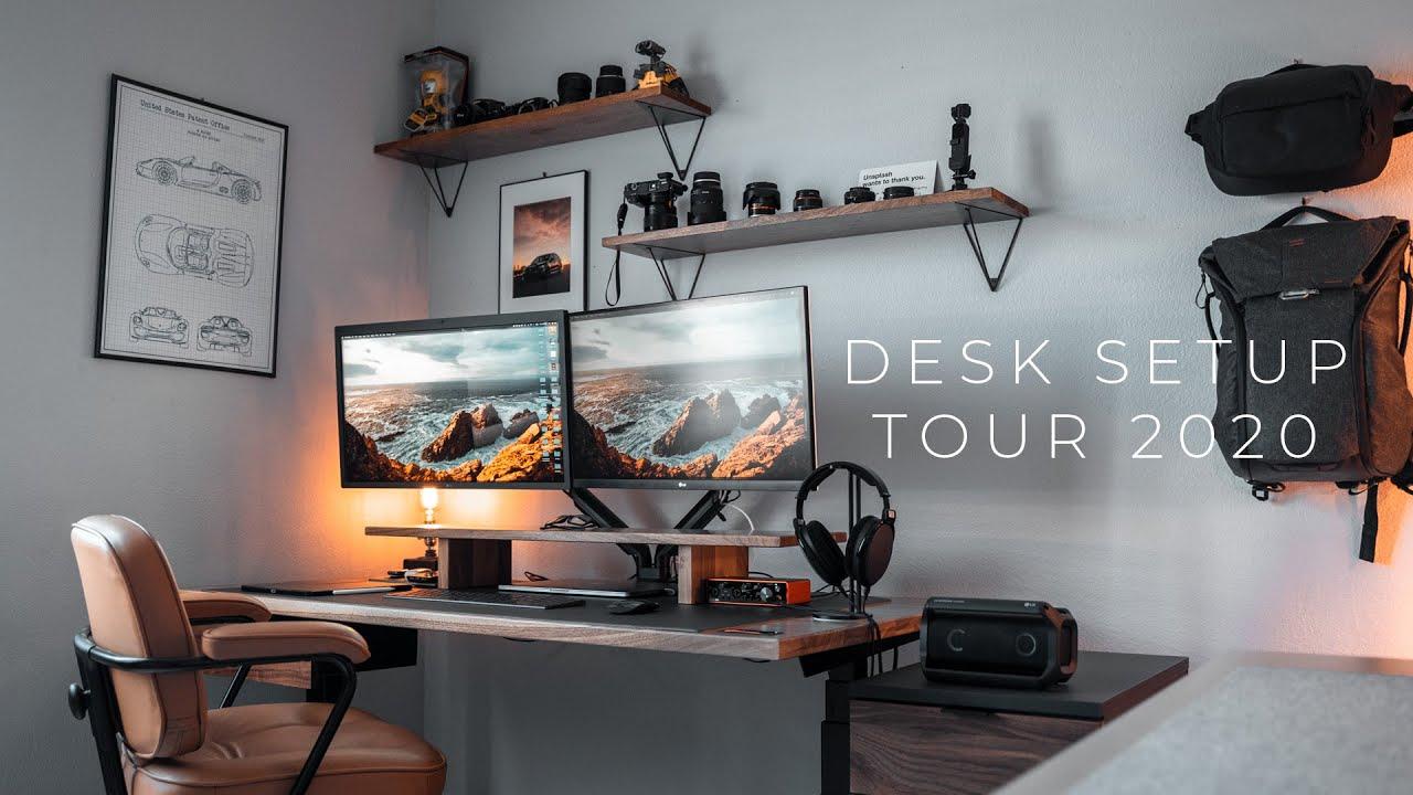- My Dream Desk Setup 2020 Solid Wood + Standing Desk - YouTube