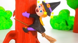 FUNNY KIDS & THE LOVELY  WITCH ❤ Play Doh Cartoons For Kids