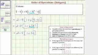 Order of Operations With Integers: a+b