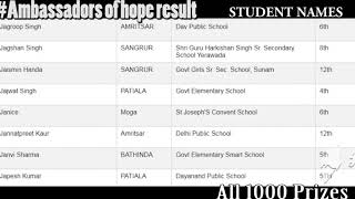 Ambassadorsofhope result | Ambassadors of hope punjab | All 1k winner | Ambassador of hope