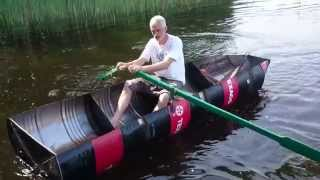 DIY boat made of four oil barrels(Front part and rear part was welded with MIG, middle part with stick welding. Boat is not heavy, two men can carry it., 2014-07-15T20:16:58.000Z)