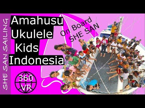 Amboina Ukulele Kids sing Nusaniwe Tanjong Alang on SHE SAN, Ambon - SHE SAN Sailing (360 VR)