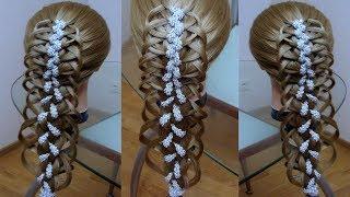 Ажурная коса  Коса с лентой  Причёска для девочки Курс плетения кос.