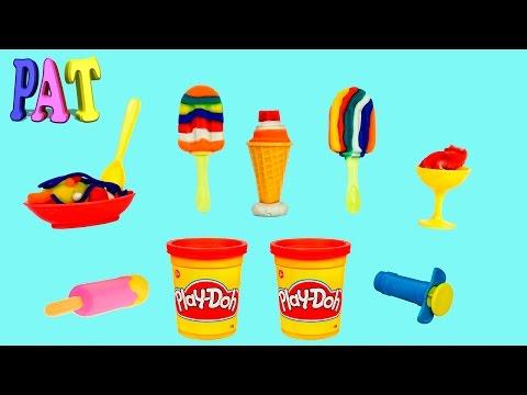 Делаем #мороженное на палочке рожок из #пластилина распаковка unboxing set Ice Cream Play-Doh