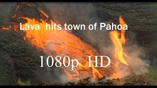 11/06/2014 -- (1080p HD)  Amazing view of Hawaii Lava Flow hitting town of Pahoa (Dept. of Defense)