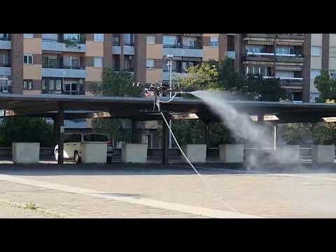 Sadeco desinfecta la estación de trenes de Córdoba usando drones