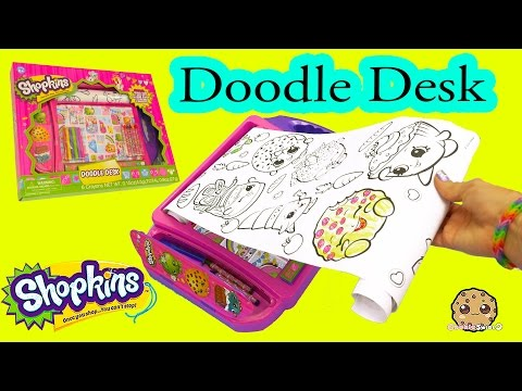 Shopkins Doodle Desk With Coloring Crayons + Markers Art Set - Cookieswirlc Video