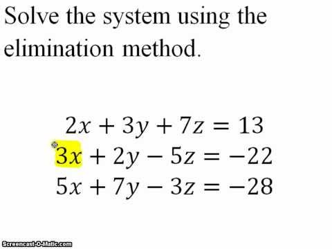Solve a Larger System of Equations by Elimination Method