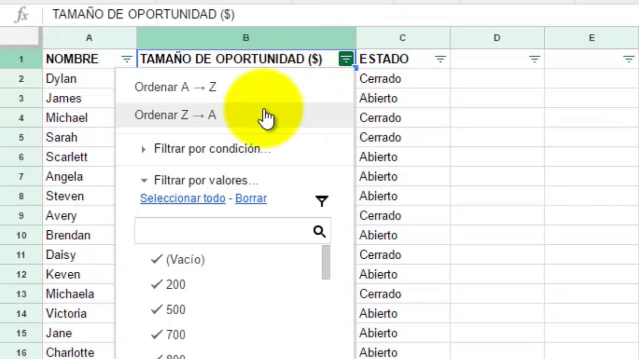 Cómo filtrar y ordenar datos en Hojas de Cálculo de Google - YouTube