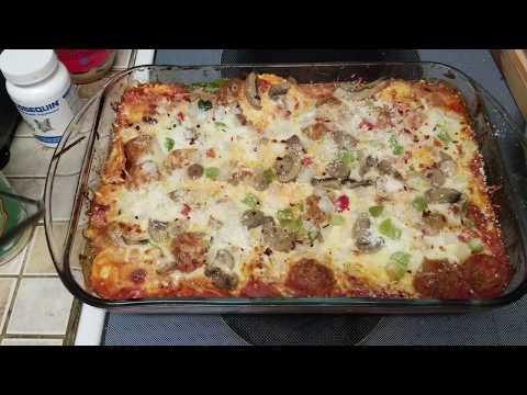 baked ravioli and meatballs