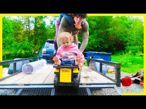 DON'T FALL OFF the DUMP TRUCK Baby River!