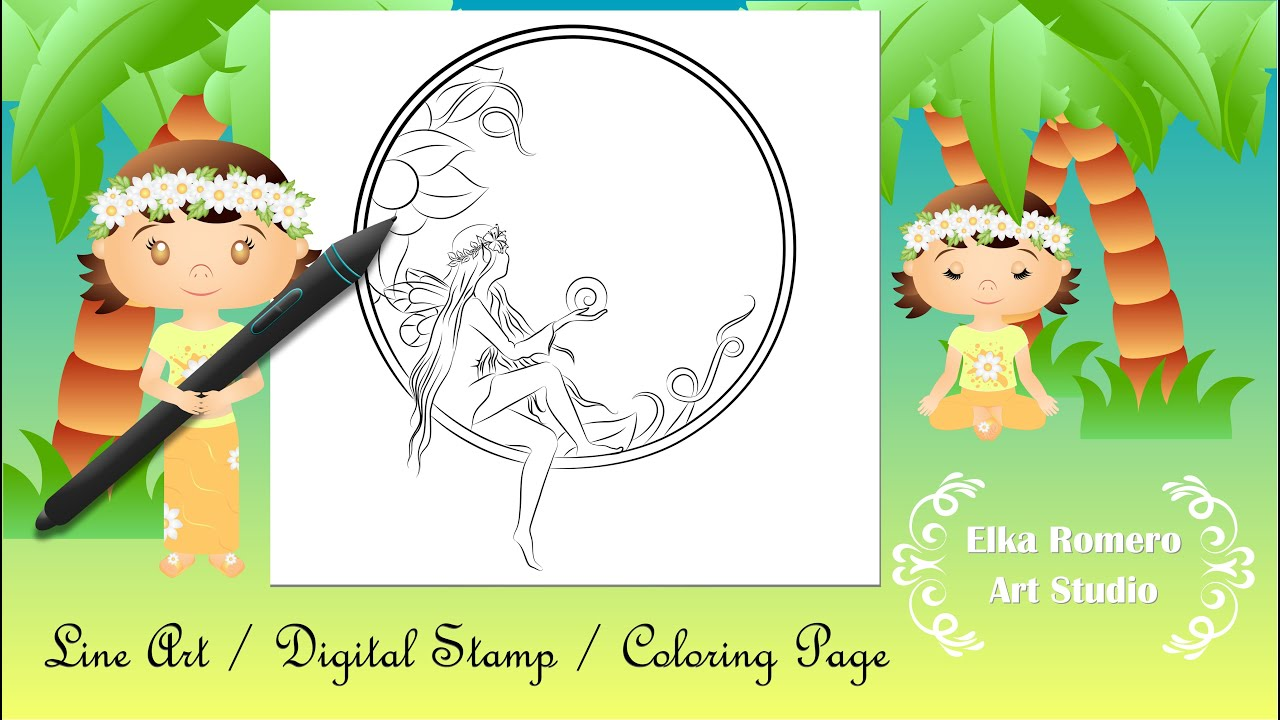 Desenho para colorir - Sun Fairy. (Line Art/Digital Stamp/Coloring Page)