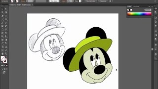 How to draw Mickey Mouse with Adobe Illustrator (For beginners)