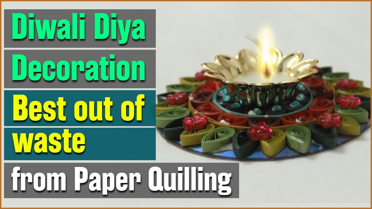 Diy reusing waste cd to decorate diya youtube for Diya decoration youtube