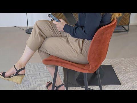 Velvet barkruk Toby koper 71 cm