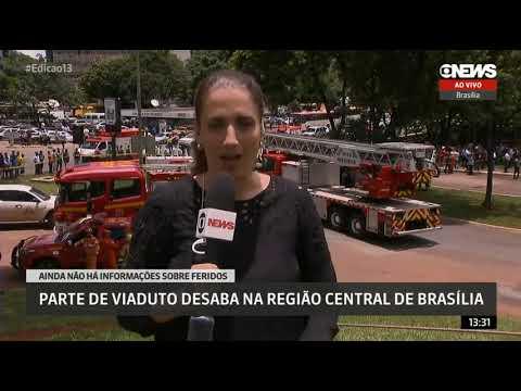 Globo News: Viaduto cai e destrói quatro carros em Brasília